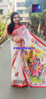 Handpainted Reshom Check Saree