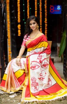 Pure Handloom Southern Cotton Hand Painting - Durga Devi Ghot