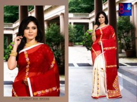 Resham Check Parshi (with Blouse Piece)