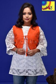 Jamdani Sleevless Shrug Orrange (Without Kurti)