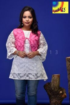 Jamdani Sleevless Shrug Pink (Without Kurti)