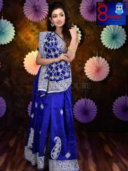 Pure Bangalore Silk with Hand Embroidered Gujrati Embroidery