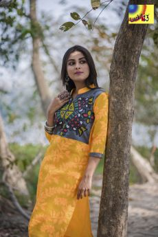 Yellow Grey Jamdani Madhubani Painted Kurti