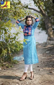 Sky Blue Jamdani Embroidered Kurti