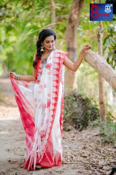 Hand Woven Khadi Temple Border Hand Block Printed Saree