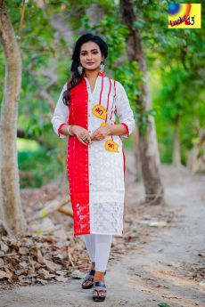 White Red Embroidered Jamdani Kurti