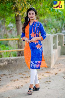 Orange Blue Embroidered Jamdani Kurti