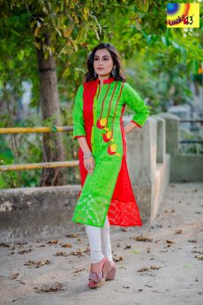 Green Red Embroidered Jamdani Kurti