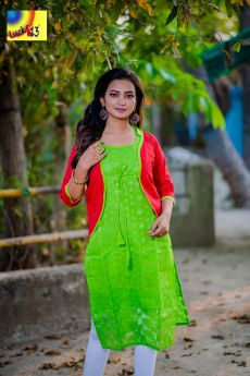 Parrot Green Jamdani Sleevless Kurti with Red Resham Embroidered Shrug