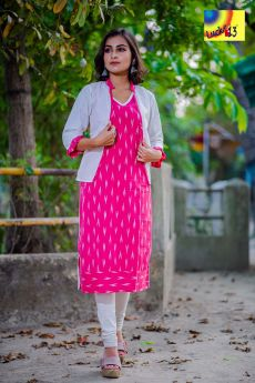 Pure Cotton Pink Ikkat Sleevless Kurti with White Summercool Shrug