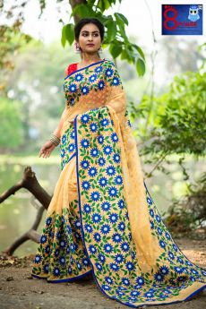 Resham Jamdani with Sunflower Applique and Blouse Piece