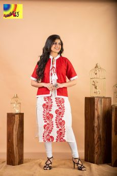 Cotton Hand Painted Kurti with Red Shurg