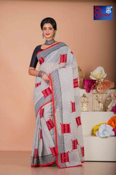 Grey White check Tant  with kantha Patch Work Saree