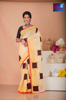 Yellow Check Tant  with kantha Patch Work Saree