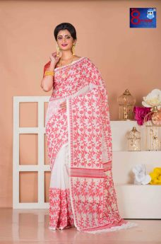 White and Red Floral Weaved Premium Quality Jamdani