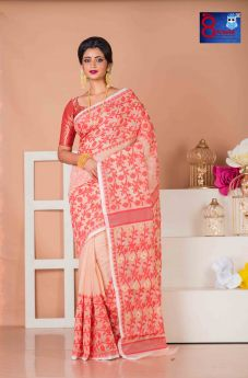 Beige and Red Floral Weaved Premium Quality Jamdani