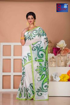 White  Resam Check With Green Alpona Hand painted Saree