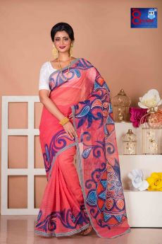 Pink Resam Check With Alpona Hand painted Saree