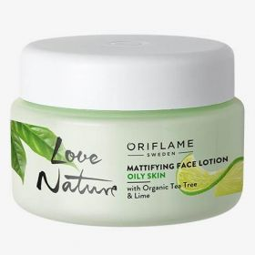 LOVE NATURE Mattifying Face Lotion with Organic Tea Tree & Lime