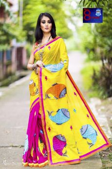 Hand Woven Pure Cotton Embroidered Patch Work Saree