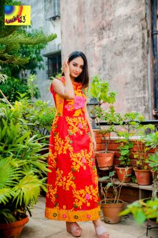 Red Rose Woven Jamdani Gown