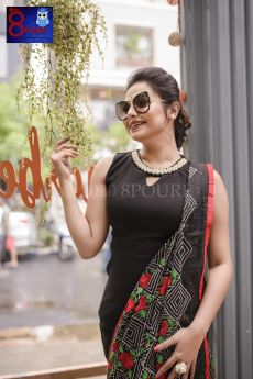 Black Jamdani with Frill Embroidered Parshi Work