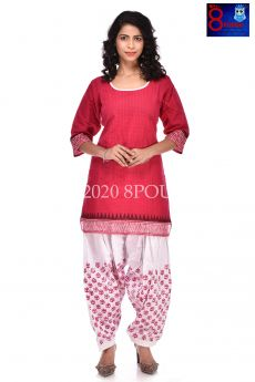 Cotton Block Printed Kurti with Cotton Patiala Pant