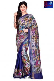 Hand Embroidered Kantha on Pure Silk Saree