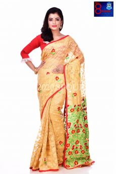 Parshi Embroidered Jamdani Saree