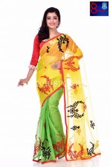Resham Check Applique Work Saree