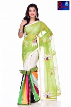 Resham Check Rangoli Embroidery Work Saree