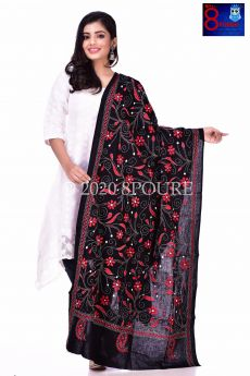 Hand Embroidered Kantha Cotton Dupatta